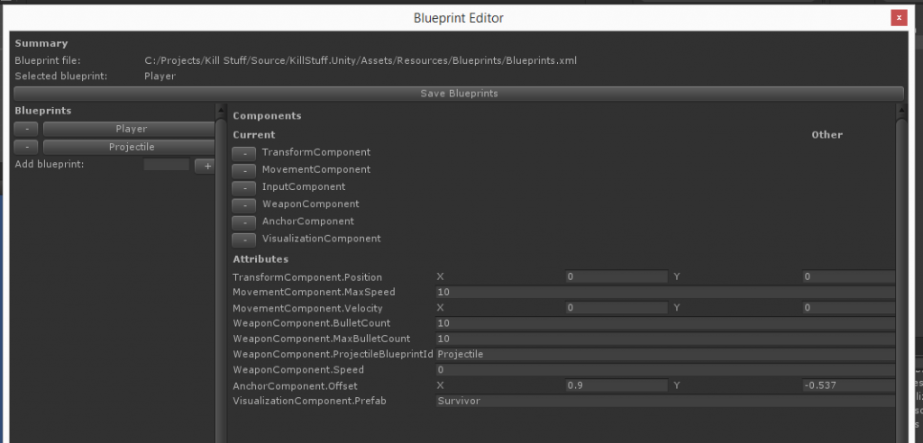 Blueprint Editor - Full configured Player blueprint
