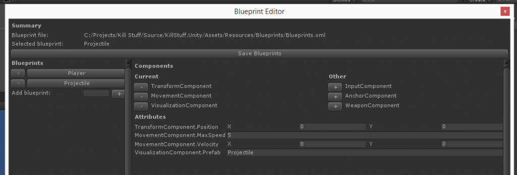 Blueprint Editor - Full configured Projectile blueprint