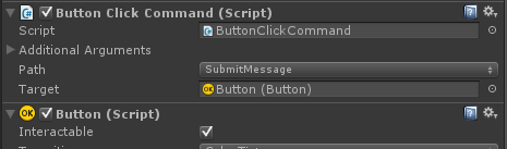ButtonClickCommand connected to SubmitMessage method